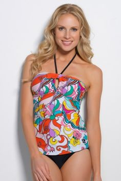 With its swirls of color, Hapari's Carnival Eyelet is a daydream of #tankini. This retro-inspired print was introduced with our #PalmDesert Collection. #Swimwear www.hapari.com