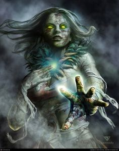 Algathia - corrupted to Agatha over the years- a Banshee created by a cursed necklace. Her soul is held in the gem of her necklace. Fantasy Warrior, Fantasy Rpg, Dark Fantasy Art, Fantasy Artwork, Dark Art, Fantasy Creatures, Mythical Creatures, Lost Mines Of Phandelver, Character Inspiration