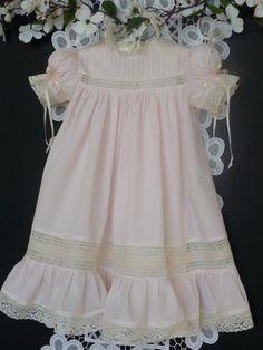 Pink and Ecru Handmade Girl's Heirloom Dress. $150.00, via Etsy.