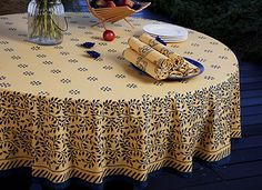 Marvelous French Country Tablecloths   Luxury Table Linens   Outdoor Tablecloth    Hand Block Printed From Attiser