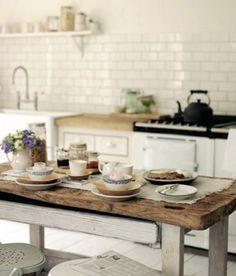 Idea - White tile backsplash, white cabinets, and wood island/workspace