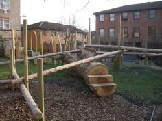 Love the steps cut into the log. Love the steps cut into the log. Outdoor Learning Spaces, Outdoor Play Areas, Outdoor Structures, Backyard Playground, Playground Ideas, Children Playground, Playground Design, Reggio, Play Yard