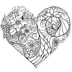 Floral zentangle inspired heart coloring page. Heart Coloring Pages, Mandala Coloring Pages, Colouring Pages, Coloring Sheets, Coloring Books, Doodle Coloring, Adult Coloring, Zen Colors, Doodle Designs