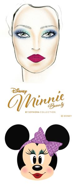 Minnie's Daring '80s Look.   This 1980s-inspired how-to is made for the beauty brave.  1. Apply Yoo-hoo over your eyelid and into the inner corner.  2. Sweep So Demure over the outer corners of your eye on both top and bottom to create depth and drama. Blend inward to create a soft fade. 3. Apply mascara.  4. Use SEPHORA COLLECTION Cream Lip Stain in Purple Pink to complete the look.