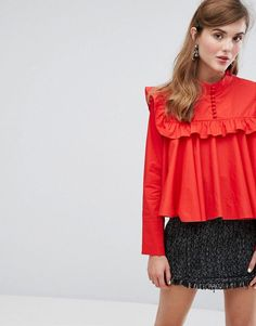 Sister Jane Smock Shirt With High Neck - Red