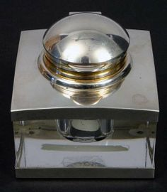20TH C. MONTBLANC CRYSTAL & STERLING INKWELL