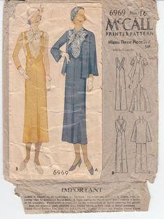 Rare Vintage Sewing Pattern 1930's Ladies' Blouse, Suspender Skirt and Jacket 34 Bust McCall 6969