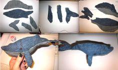 Brutto prototipo di una balena di jeans
