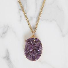 Amyethst Druzy Pendant by Margaret Elizabeth | Margaret Elizabeth $198 #necklace #beautiful #obsessed