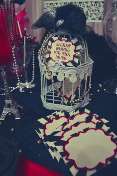 Bridal wishes at a Moulin Rouge bachelorette party! See more party planning ideas at CatchMyParty.com!