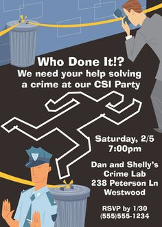 CSI party chalk outline - flyer inspiration for Cadette Secret Agent Badge Whodunit night