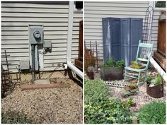 You can't get rid of your utility meters (no matter how much your wallet would thank you), but you can stop them from uglying up your garden. Try some cute shutters, like Diana did. Her meter is read remotely, but this cover up is easy enough to remove if necessary. Get the tutorial at Hometalk »   - HouseBeautiful.com