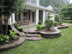 Front Yard Garden Design Beautiful Large Yard Landscaping Design Ideas (front yard east side to finish off the mound) - Beautiful Large Yard Landscaping Design Ideas Front Walkway Landscaping, Front Yard Walkway, Landscaping With Rocks, Backyard Landscaping, Farmhouse Landscaping, Modern Backyard, Front Patio Ideas, Front Porch Steps, Desert Backyard