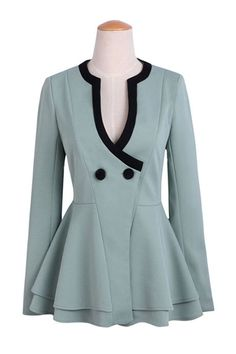 Soft Aqua flair jacket. Very pretty with a black skirt, slacks or for more formal wear a long black skirt.