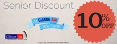 10% off senior discount for HVAC services with Gibson Air heating and air conditioning company in Henderson, Nevada. Visit www.gibsonair.com for more HVAC deals or to schedule HVAC services in the Las Vegas and Clark County Nevada area!