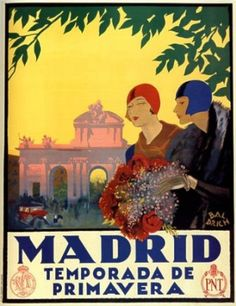 Vintage Travel Poster, Madrid, 1927 Here is another postcard from my collection. It is a vintage travel poster advertising Madrid. Old Poster, Retro Poster, Poster Poster, Framing Canvas Art, Canvas Frame, Photo Vintage, Vintage Ads, Framed Art Prints, Poster Prints