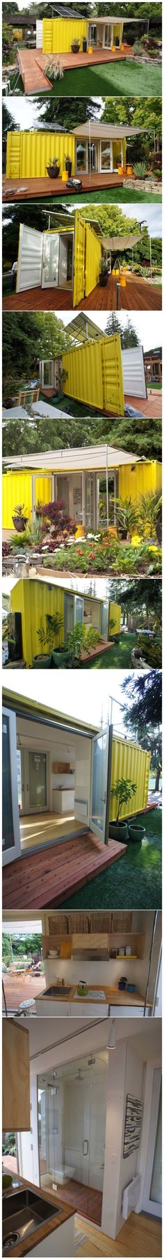 """via www.cargotecture.com This little shipping container house called """"The Nomad"""" was designed for Sunset Magazine by Seattle-Based HyBrid Architecture. The home's shell is a used 24 foot shipping container that provides 192 sq. ft. of interior living space and can sleep four people. The house has a galley kitchen, a bathroom and several exterior openings."""