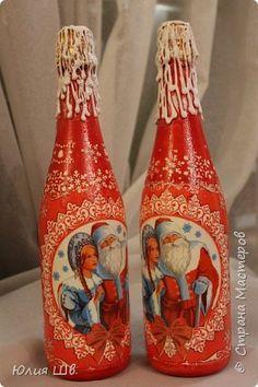 Добрый всем день! Новогодние бутылочки. Салфетки, горячий клей, блестки фото 25