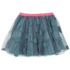 Tulle skirt with peacok blue spots. Percale lining. Neon pink elasticated waistband. - 49,00 €