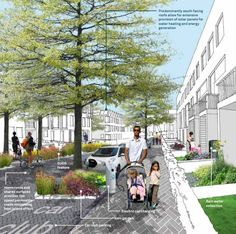 University of Cambridge is undertaking an ambitious new urban extension in North West Cambridge. The master plan for the development, prepared by Aecom, lays out the framework for a new district centered on a mixed academic and urban community. Family life – Via Development Vision Document