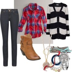 skinny jeans, plaid top, striped cardi, and slouchy ankle boots