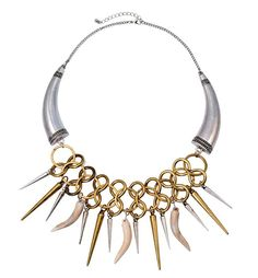 Buy Tribal Collar Necklace With Spike And Claw Fringe at Style Moi