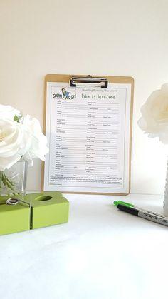 Who is Involved Worksheet: GEG's Wedding Planning Templates- Digital Download File PDF Coordinating, Clipboard Organizer