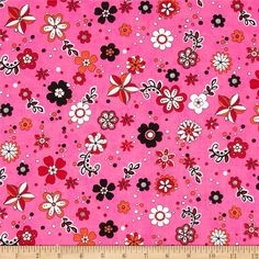 Tossed Flowers Hot Pink from @fabricdotcom  Designed by Marcus Fabrics, this cotton print fabric is perfect for quilting, apparel and home decor accents. Colors include