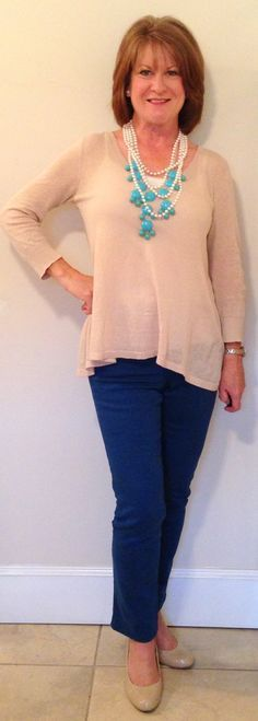 Outfits for Women Over 50 | spring outfits for women over 50 | Favorite things Could work for type 1 with flippy hair or bangs up.