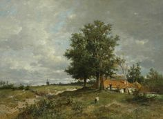 Anton MAUVE (1838-1888, Dutch painter): Panoramic Summer Landscape with Farm and Mill, c. 1870