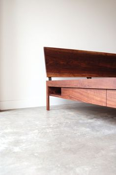 A personal favorite of mine, and one of the most popular pieces from the line, the Chadhaus Loft Bed is handmade from solid wood (in this case Oregon walnut) with steel details.