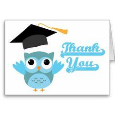 Blue Owl Throwing Graduation Cap Thank You Card