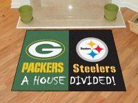 Packers-Steelers House Divided Welcome Mat. $39.99 Only.