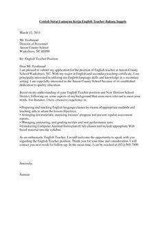 Surat Lamaran Kerja Guru Bahasa Inggris