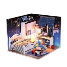 Handmade wooden #dollhouse #miniature diy kit boys bedroom furniture #accessory,  View more on the LINK: 	http://www.zeppy.io/product/gb/2/351894792432/
