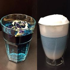 Blue tea VS Blue latte with bluechai. One blue tea can create many delicious blue drink and food version :) Alcoholic Drinks, Cocktails, Beverages, Butterfly Pea Flower, Blue Drinks, Pea Recipes, Latte Art, Drinking Tea, Matcha