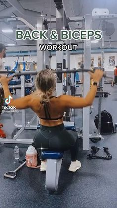 Back And Bicep Workout, Biceps Workout, Slim Waist Workout, Back And Biceps, Shoulder Workout, Back Exercises Gym, Full Upper Body Workout, Slim Thick Workout, Arm Workouts
