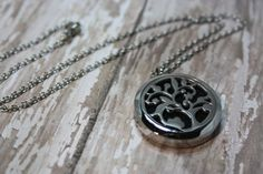 Essential Oil Diffuser Necklace- Aromatherapy Necklace- Stainless Steel Pendant- Stainless Steel Aromatherapy Necklace- Floral Tree Design 30mm  Would