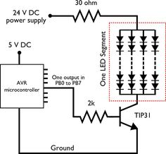 Using transistors for connecting high voltages leds.