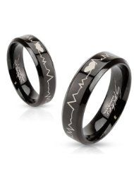 Black IP with Heartbeat Laser Etched Band Ring - Couple Rings Stainless Steel Wedding Bands, Stainless Steel Jewelry, Heart Beat Ring, Men's Jewelry Rings, Couple Rings, Black Rings, Wedding Ring Bands, In A Heartbeat, Fashion Rings