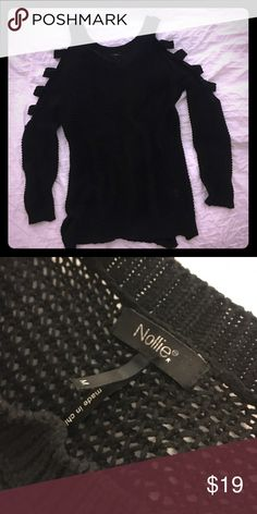 Selling this Black Knitted Sweater with Cutouts on Sleeves on Poshmark! My username is: haidencary. #shopmycloset #poshmark #fashion #shopping #style #forsale #Nollie #Sweaters