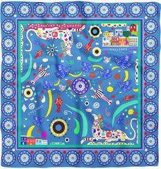 "Cyclades ""Friendship"" Silk Twill Scarf designed by Leto Lama"