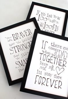 Disney Winnie the Pooh movie quote posters... frame them with some color and put along wall