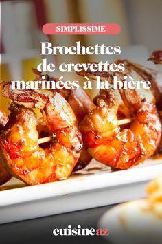 Les brochettes de crevettes marinées à la bière sont à cuire au barbecue. #recette#cuisine#crevette#brochette #biere #barbecue #bbq Barbecue, Doughnut, French Toast, Breakfast, Desserts, Food, Marinated Shrimp, Special Recipes, Slow Cooker