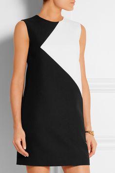 Saint Laurent|Two-tone wool mini dress|NET-A-PORTER.COM
