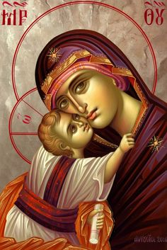 Holy Mary, Mother of God Religious Images, Religious Icons, Religious Art, Madonna Art, Madonna And Child, Byzantine Icons, Byzantine Art, Blessed Mother Mary, Blessed Virgin Mary