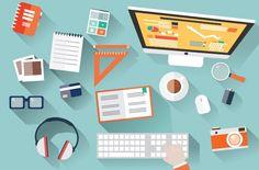 Check out Flat Design Office Desk by Blue Lela Illustrations on Creative Market (Tech Design Office) Web Design Agency, Web Design Services, Web Design Trends, Web Design Company, Icon Design, Seo Company, Seo Services, Flat Design, Design Plat