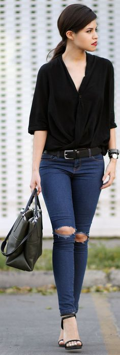 I definitely like the look but I would go for thicker, more sturdy looking jeans with mo holes. Great shirt though! lovely shape! Lovemartini Black Half Sleeve Wrap Blouse by Fake Leather.