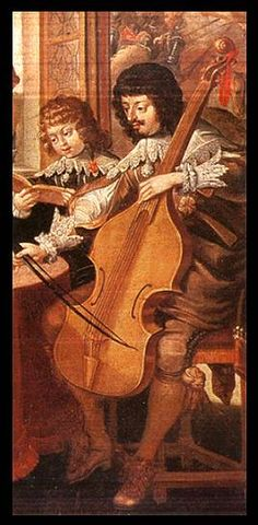 close-up detail of viol in Abraham Bosse's, Musical Society, French, c.1635.