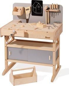 Kids Workbench, Childrens Workbench wooden made Kids Workbench, Garage Workbench, Wooden Workshops, Woodworking Bench, Woodworking Shop, Wood Toys, Diy Toys, Wooden Diy, Toys For Girls